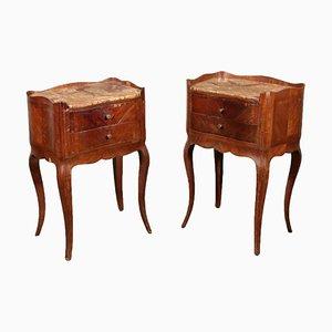 Tables de Chevet Antiques en Marbre, France, Set de 2
