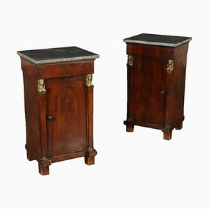 Antique Italian Empire Mahogany Nightstands, Set of 2