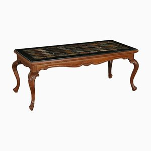 Antique Italian Walnut Marble Top Coffee Table