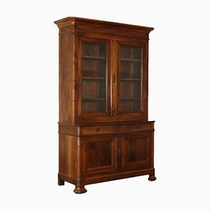 Antique Italian Walnut Double Body Cupboard or Bookcase