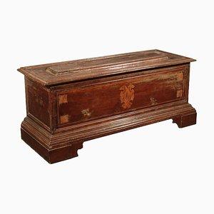 Cajonera italiana de madera de arce y nogal con incrustaciones, siglo XVIII