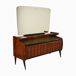 Vintage Italian Rosewood Veneer Dressing Table with Mirror, 1960s
