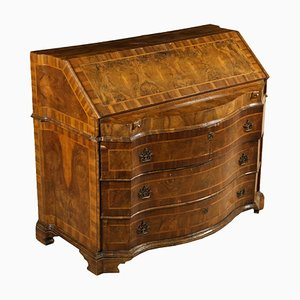 Secretaire antico allungabile in legno di noce e acero
