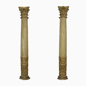Columnas italianas acanaladas doradas, siglo XVII. Juego de 2