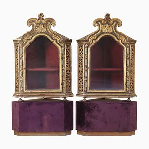 Italian Glass & Wood Corner Cabinets, 1700s, Set of 2