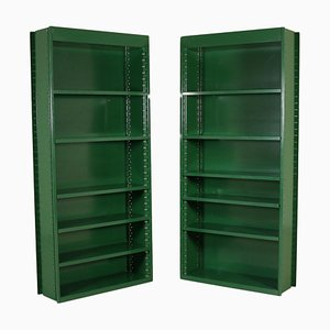 Italian Lacquered Metal Bookcases, 1970s, Set of 2