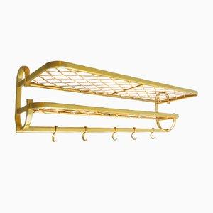 Perchero de aluminio dorado con estantes, años 60