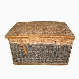 Large Antique Lidded Wicker Basket