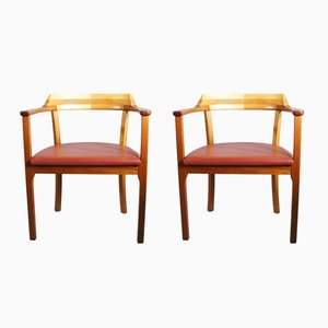 Mahogany, Beech & Leather Armchairs by Rigmor Andersen & Annelise Björner for Karl Andersson & Söner, 1980s, Set of 2