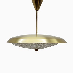 Glass & Brass Pendant Lamp by Carl Fagerlund for Orrefors, 1960s