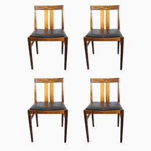 Chaises de Salle à Manger en Palissandre et Cuir, 1960s, Set de 4
