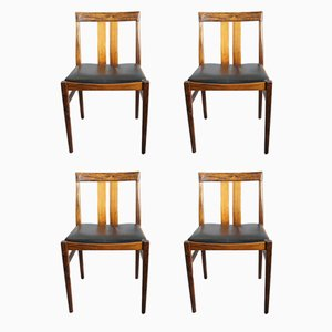 Rosewood & Leather Dining Chairs, 1960s, Set of 4