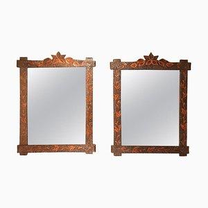 Antike Volkskunst Spiegel mit handgeschnitzten Rahmen, 2er Set