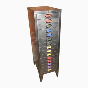 Polished Metal Industrial 15 Drawer Filing Cabinet from Bisley , 1970s