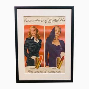 Vintage Rita Hayworth Lippenstift Werbedruck, 1940er