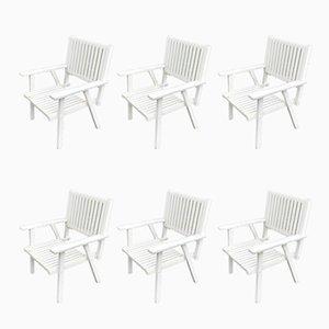 Gartenstühle aus Holz, 1970er, 6er Set