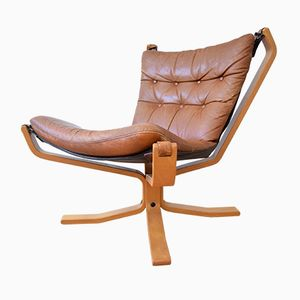 Mid-Century Danish Cognac Leather Falcon Chair, 1970s
