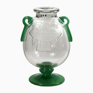 Vase Art Déco en Verre par Charles Schneider, 1920s