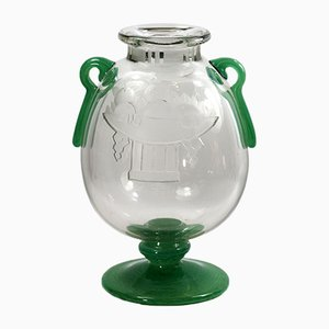 Vaso Art Déco in vetro di Charles Schneider, anni '20
