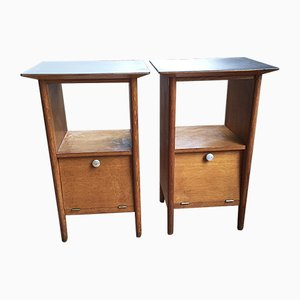 Vintage Oak Bedside Tables, Set of 2