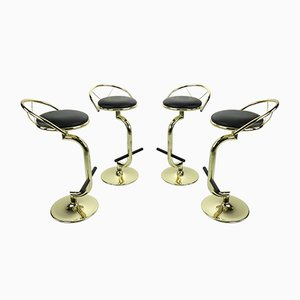 Hollywood Regency Style Brass & Black Faux Leather Bar Stools, 1970s, Set of 4