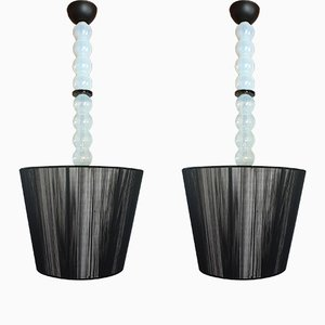 Mid-Century Modern Italian Murano Glass Ceiling Lamps, Set of 2