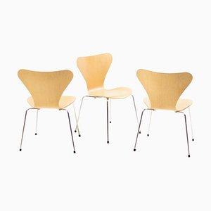 Sedie nr. 3107 della serie 7 vintage di Arne Jacobsen per Fritz Hansen, 1984, set di 3