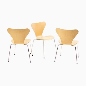 Vintage Model 3107 Series Seven Chairs by Arne Jacobsen for Fritz Hansen, 1984, Set of 3