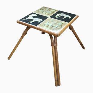 Tavolino Mid-Century in ceramica e vimini di Chassin