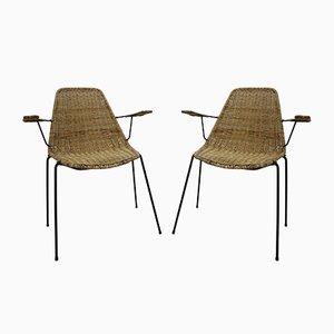 Sedie in vimini di Gian Franco Legler, anni '50, set di 2