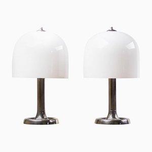 Lámparas de mesa grandes de níquel y vidrio, años 50. Juego de 2