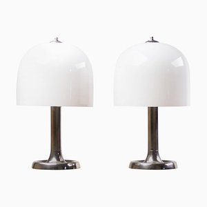 Large Nickel & Glass Table Lamps, 1950s, Set of 2
