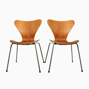 Model 3207 Dining Chairs by Arne Jacobsen for Fritz Hansen, 1950s, Set of 2