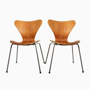 Sillas de comedor modelo 3207 de Arne Jacobsen para Fritz Hansen, años 50. Juego de 2