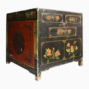 Vintage Lacquered Chinoiserie Cube Cabinet