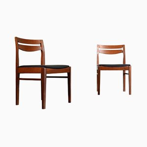 Vintage Teak and Leatherette Chairs, Set of 2