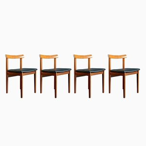 Mid-Century Swedish Teak and Leatherette Chairs, Set of 4