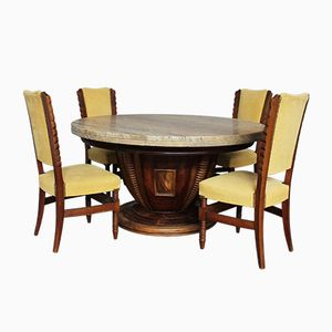 Set with 8 Round Chairs & Table, 1930s