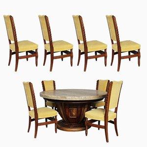 Juego de mesa redonda y ocho sillas, años 30