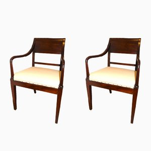 19th Century English Mahogany Armchairs, Set of 2