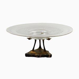 Milieu de Table Art Déco en Bronze et Verre de Verame, France, 1920s