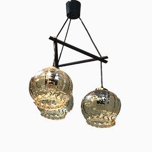 Lampada in teak e vetro, anni '60