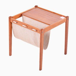 Vintage Danish Teak & Canvas Magazine Table from Furbo Spøttrup