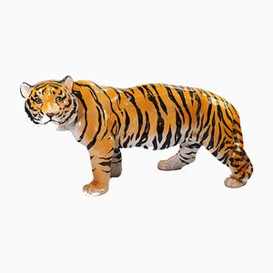 Mid-Century Tigerfigur aus Terrakotta