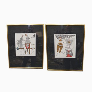 Surrealistic Lithographs by Max Walter Svanberg, 1957, Set of 2