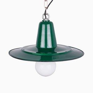 Vintage Polish Industrial Green Enamel Pendant Lamp, 1960s