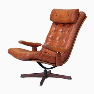 Swedish Leather Swivel Lounge Chair from G-Möbel, 1970s