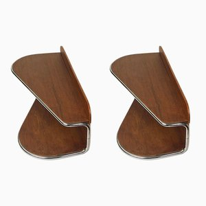 Bauhaus Teak Bedside Wall Shelves, 1956, Set of 2