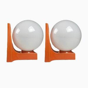 Space Age Porcelain & Opaline Glass Table Lamps, 1970s, Set of 2