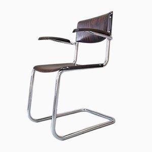 Bauhaus Schreibtischstuhl mit verchromtem Gestell von Mart Stam für Bremshey & Co., 1950er